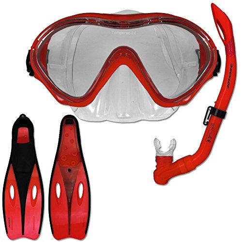 Tauchset Dunlop mit Farb- und Größenauswahl - Schnorchel Set - Tauchermaske - Schnorchel - Schwimmflossen (Rot, 32-34)