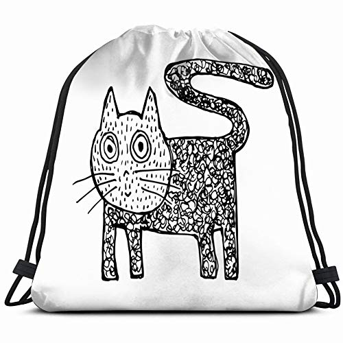 DD Decorative Etnic cat Animals Wildlife Agriculture Drawstring Backpack Gym Sack Lightweight Bag Water Resistant Gym Backpack for Women&Men for Sports,Travelling,Hiking,Camping,Shopping Yoga -