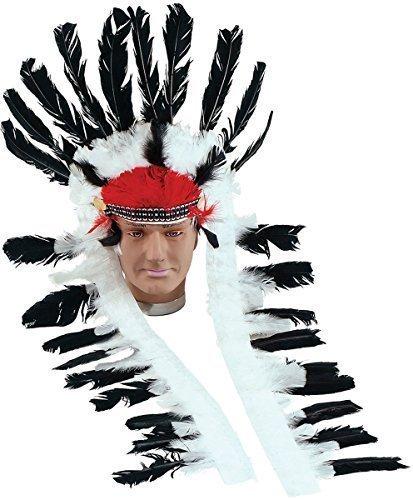 Erwachsene Ausgefallen Party Kostüm Zubehör Indianerhäuptling Lang Gefedertes Kopfbedeckung - schwarz-weiß, Einheitsgröße (Indische Kopfbedeckung Kostüm)