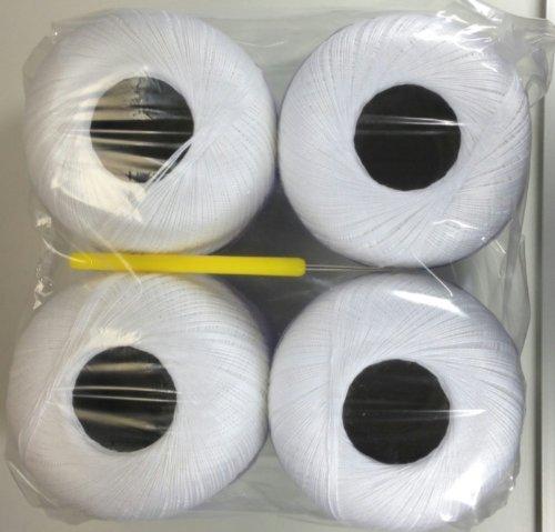Häkelgarn 400 Gramm weiss + weiß Baumwolle-Filet-Garn