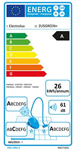 Electrolux ZUSGREEN+ Aspirapolvere a Traino, C/Sacco, AAA