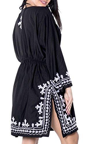 La Leela Damen Rayon Hals alle in 1 Wohn- beiläufiges Kleid Badeanzug Kimono Tunika tief Hals Bademoden Plus szie maxi kurz Kaftan Maxi Strand-Party Pool-Bikini-Vertuschung gestickt Schwarz