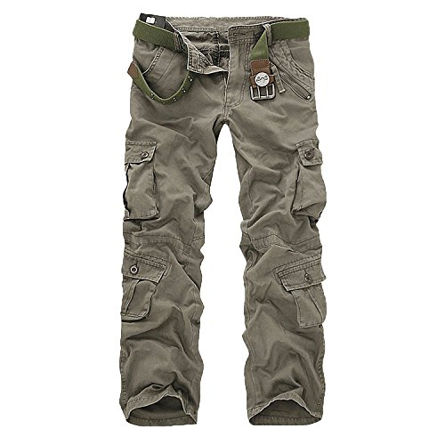 Minetom Herren Baumwoll Militärstil Lange Hose Latzhose Jogginghose Sporthose ohne Guertel ( Boden Armee grün 2 EU L )