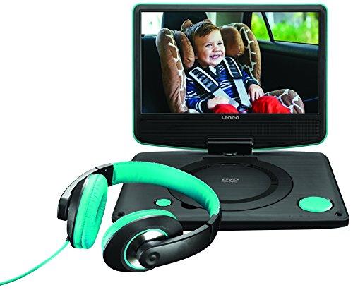 Lenco DVP-934 Tragbarer 9 Zoll DVD-Spieler, auch für KFZ, mit Fernbedienung, Kopfhörer, Kopfstützenhalterung, 12 V Fahrzeugadapter, USB, AV