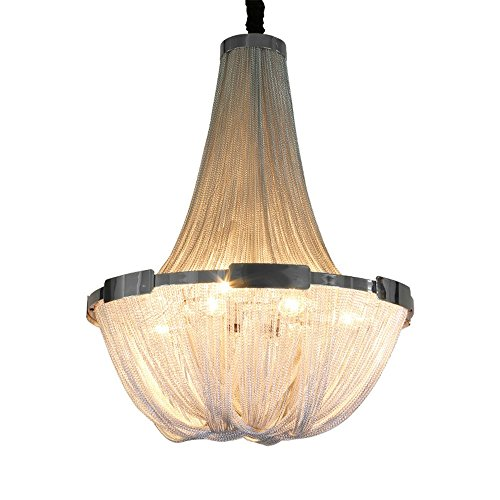 Joeyhome Aluminun Quaste Kette Vintage Kronleuchter E14 LED Glanzmittel Fashion Designer Kette Lampen Hängelampe, Sliver, warmes Weiß, Durchmesser 80 cm x H 120 cm