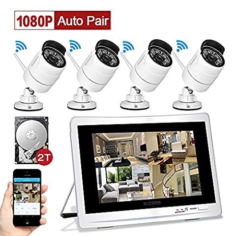 """YESKAM Wireless CCTV Camera Systems with 12"""" LCD HD Monitor 4pcs 1080P Wifi IP Cameras 2.0 Megapixel Video Monitoring Surveillance Kits for Home Outdoor Security Pre-installed 2TB HDD for Recording Motion Activated Remote Viewing on Smart Phone"""