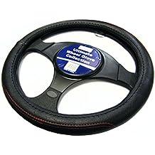 XtremeAuto® Funda para volante con aspecto de cuero color negro con costuras rojas
