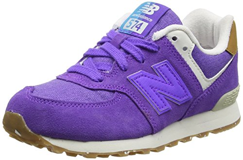 New Balance Unisex Kids 574 Leather Mesh Low-Top Sneakers, Purple (Purple), 2...