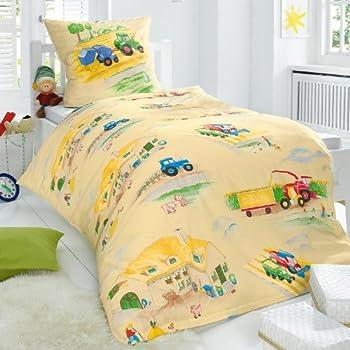 kids club kinder bettw sche mit bauernhof motiv einzelbett gr n k che haushalt. Black Bedroom Furniture Sets. Home Design Ideas