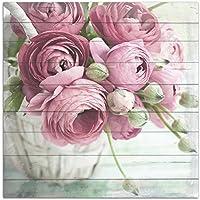 Cuadros Lifestyle Wandbild aus Holz | Holzbild | Shabby-Look | Landhaus | Rosen | Vintage | Geschenk, Größe:ca. 50x50 cm