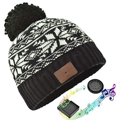 JIANYIJIA Auriculares Bluetooth Gorra,Bluetooth Beanie Hat Gorro de Punto Unisex con Altavoz Estéreo Auriculares y Micrófono (Bianco e Nero)