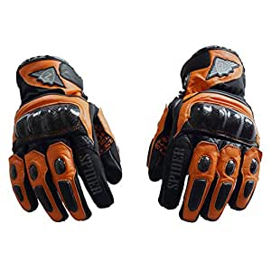 Zeus Leather Spider Motorcycle Gloves (Orange, XX-Large)