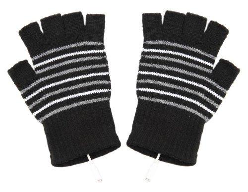 snowwer Stripe Pattern USB2.0con calefacción guantes sin dedos (neg