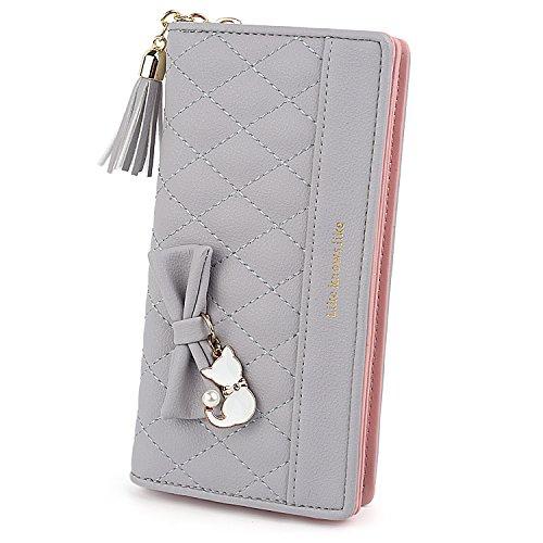 UTO Damen PU Leder Lange Brieftasche Große Kapazität mit Cute Cat Anhänger Kartenhalter Handytasche Mädchen Reißverschluss Geldbörse Grau