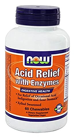 Acid Relief with Enzymes 60 Chewable Tablets by Now Foods