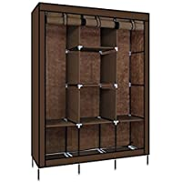 KRISHYAM Fabric Fancy and Portable Foldable Almirah Wardrobe with 6 Cabinet and 2 Long Shelves Clothes Organizer (Brown)