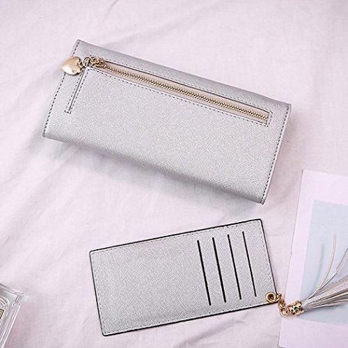 Portafoglio Donna, Tpulling Borsa della borsa del supporto della carta del raccoglitore della borsa della frizione delle donne (Black) silver
