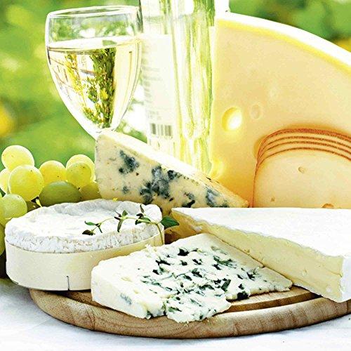lder I Glasbilder Deko Glas Bilder 30 x 30 cm Ernährung Genuss Lebensmittel Foto Creme D1JA Käse & Wein ()