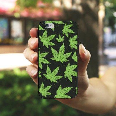 Apple iPhone X Silikon Hülle Case Schutzhülle Hanfblatt Weed Gras Grün Silikon Case schwarz / weiß
