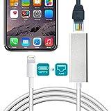 Jiqu Lightning-Ethernet-Adapter, Lightning auf RJ45-Ethernet LAN-Netzwerkadapter, 10 / 100Mbps Netzwerkadapter für iPhone/iPad, Play & Play, iOS 10.0 oder höher