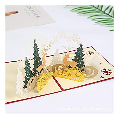ZHOUBIN 2 fogli/set Carving and Hollowing Out 3D Cards/Greeting Cards/Regali di Natale Capodanno/Auguri di compleanno/Foresta di alci di Natale