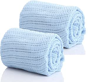 Pair of 100% Pure Cotton Cellular Baby Blanket for Pram Cot Bed Moses Basket Crib in Blue Pink or White (2 x Blue)