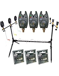 NGT Carp Fishing Rod Pod 3x Black Bite Alarms With Volume Control 3x Indicator Swingers & Rests by NGT