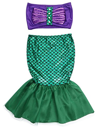 KOKOUK 2pcs Kids Swimwear Mermaid Set, Girl Princess Fancy Dress Party Cosplay Costume - Age Play Kostüm