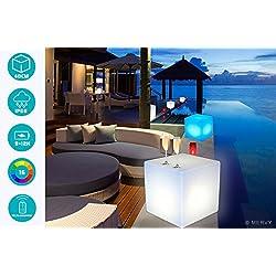 Mervy - Cube Led Lumineux Multicolore 40cm Rechargeable avec Télécommande Intérieur / Extérieur