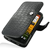HTC OneX+ Leather Case - Book Type (Black Crocodile Pattern) by Pdair