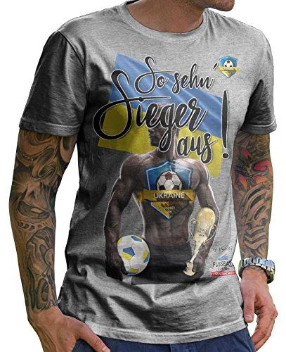 Stylotex Herren T-Shirt Basic So sehn Sieger aus Guy Ukraine, Farbe:heather;Größe:XXXL