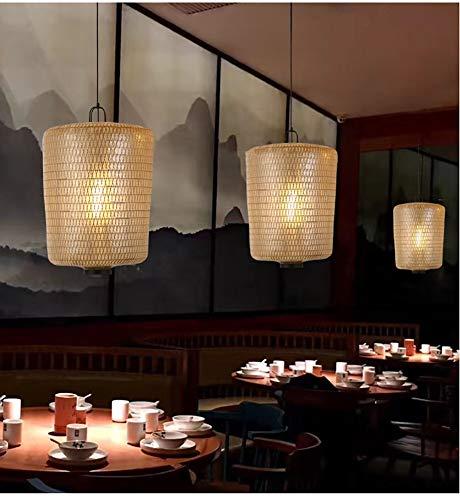 DECORATZ Manuelle Weaving LED-Restaurant Retro Pendelleuchte, chinesische Art-Hanföl Papierlampenschirm Laterne kreative antike Teahouse Foyer Kronleuchter Licht-H640CM