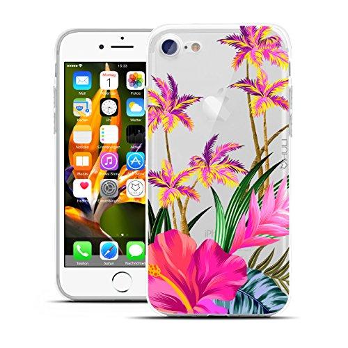 HULI Design Case Hülle für Apple iPhone 7 Smartphone mit Blumen Muster - Handy Schutzhülle klar aus Silikon mit tropischen Pflanzen Tropen Sommer Urlaub Paradies Flower - Handyhülle mit Druck