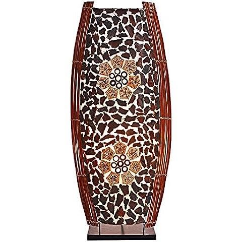 Design lampada decorazione luce Ronni, lampada da tavolo panciuto 60 cm alto in Ecru I materiali in bambù e foglia pannocchie marrone