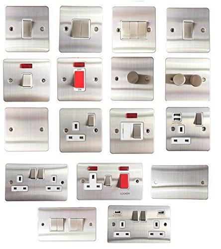 Sinoe Lichtschalter / Steckdosen nach britische Standard in gebürstetem Chrom, flach, 1,5mm, mit Lichtschalter, Steckdose, USB-Anschluss, Telefon, Rasierer, Neon, C308DMF 4 Gang 2 Way Light Switch
