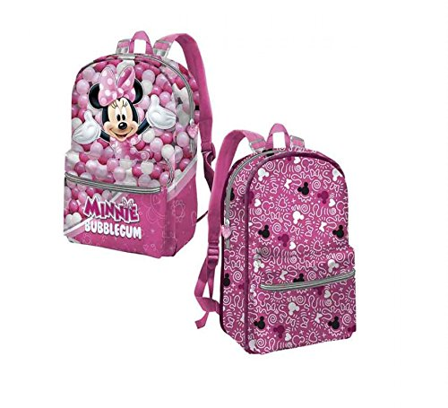 51Kdqk3nqJL - Karactermania Minnie Mouse Bubblegum Mochila infantil reversible, 31 cm, Rosa
