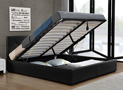 Doppelbett Bettkasten Klappbett Polsterbett Bettgestell Bett Lattenrost Kunstleder (180x200cm, Schwarz)