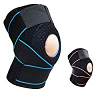 AOHAN Knee Support Brace Knee Sleeves Compression Wraps Cold Shoulder Gel Gear Adjustable Bandage for Sports Running Climbing Riding Basketball Badminton Men Women