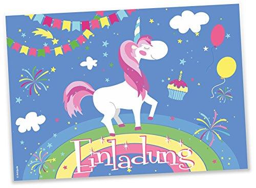 12-Einladungskarten-Einhorn-auf-Regenbogen-Kindergeburtstag-Luftballons-Girlanden-Sterne-Geburtstagseinladungen-Einladungen-Geburtstag-Kinder-Jungen-Mdchen-Einladungstext-Vorlagen-Karten-Set