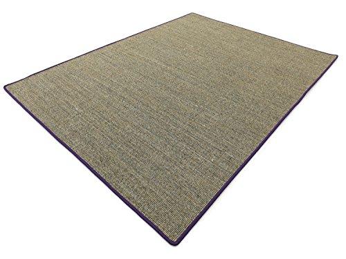 Salsa Design HEVO® Sisal Teppich Granit mit lila Kettelkante 200x200 cm - Scheune Latex