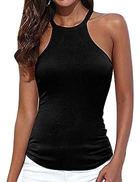 Mujer Camiseta De Tirantes Básica Cabestrillo Chaleco Cabestro Negro XL