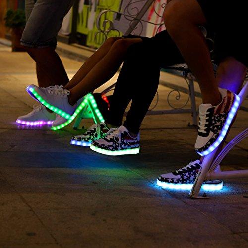 DoGeek Unisex Adulto Scarpe con Luci Scarpe LED Luminosi Sneakers con Luce nella Suola Bright Tennis Shoes USB 8 Colori Lampeggiante Trainners Blue Paquete De Cuenta Regresiva Rx7Q77t