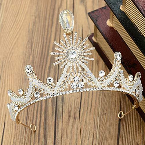 MICOKY Diademe Handgemachte Braut Kopfschmuck Hochzeit Kleid Accessoires Sonne Blume Strass Krone (Blumen-sonne-kleid)