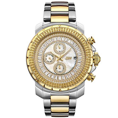 JBW Hombres del reloj de Diamond con cristales de Swarovski plateado oro
