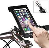 Lenkertaschen für Fahrrad Wasserdicht, handyhalterung Fahrrad Sensitive TPU Touchscreen Doppelt Wasserdicht für Smartphones Innerhalb von 6 Zoll, für iponeX / iPhone 7s Plus / 6s Plus / Samsung S7丨Lanyard-Design丨Schwarz