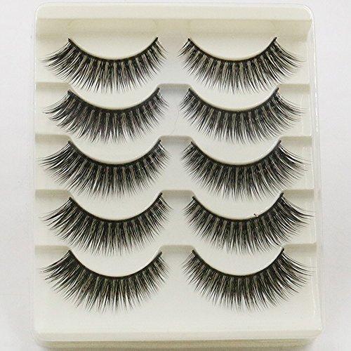 3D Faux Cils Effet Naturel Professionnel 5 Paires, Longue Extension de Cils pour Femmes Maquillage Doux Faux Cils (B)