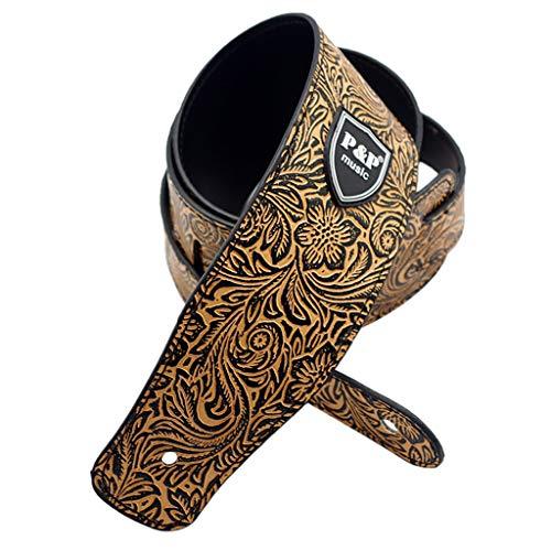 B Blesiya Justierbarer Lederne Gitarrengurt-Gurt mit Pilz Kopf Bügel Verschluss Straplock Gitarren-Teil-Zusätze - Gelb