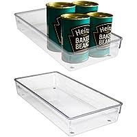 Pack 2 Recipientes Organizar Refrigerador Plástico Acrílico Transparente - 30,5 x 15 x 5cm Bandejas Apilables de Cocina para Refrigerador Carne, Condimentos Pequeños