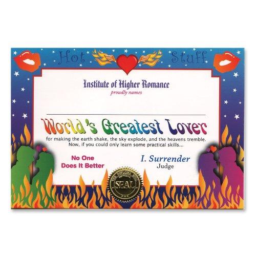 World'S Greatest Lover Certificate (Pack of 6) (Hot Stuff Kostüm)