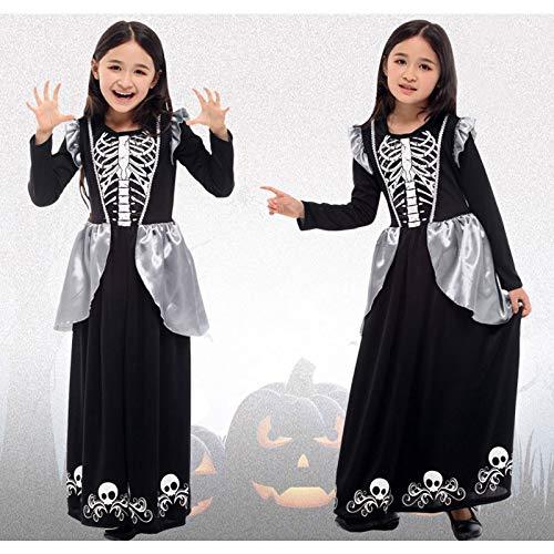 Zygeo - Halloween Tag der Kinder-Partei-Skelett-Kostüm für Kinder Schädel Skeleton Monster Dämon Geist Scary Kostüm-Kleid-Robe für Mädchen [L G0288]